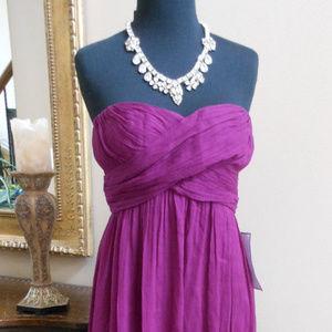 J CREW Strapless Silk Chiffon Taryn LONG Dress 4